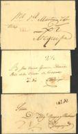 Perú. Sobre . 1828. Conjunto De Tres Cartas De ISLAY A AREQUIPA, Con La Marca ISLAY En Diversos Colores. - Perú