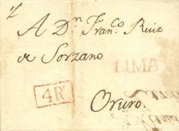 """Perú. Sobre . 1830. LIMA A ORURO. Marca LIMA, En Rojo (Colareta 12) Y """"4Rs"""", No Reseñado. MAGNIFICA. - Perú"""