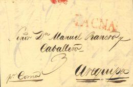 Perú. Sobre . 1833. TACNA A AREQUIPA. Marca TACNA, En Rojo (Colareta 2). MAGNIFICA. - Perú