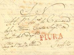 Perú. Sobre . 1827. PIURA A TRUJILLO. Marca PIURA, En Rojo (Colareta 3). MAGNIFICA. - Perú