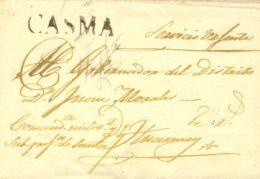Perú. Sobre . (1820ca). CASMA A HUARNEY. Marca CASMA (Colareta 1). MAGNIFICA. - Perú