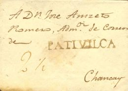 Perú. Sobre . (1847ca). PATIVILCA A CHANCAY. Marca PATIVILCA (Colareta 1). MAGNIFICA. - Perú