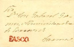 Perú. Sobre . (1830ca). PASCO A TACNA. Marca PASCO, En Rojo (Colareta 1). MAGNIFICA. - Perú
