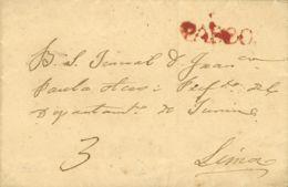 Perú. Sobre . (1830ca). PASCO A LIMA. Marca PASCO, En Rojo (Colareta 1). BONITA. - Perú