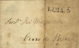 "Perú. Sobre . 1860. LIMA A PASCO. Marca LIMA (Colareta 18) Y Porteo ""3"" (Colareta 18P). BONITA. - Perú"