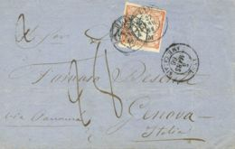 Perú. Sobre Yv 8. 1866. 1 Dinero Naranja. LIMA A GENOVA (ITALIA). Matasello LIMA / M (Tipo 27, Según G.LAMY) Y Marca De - Perú