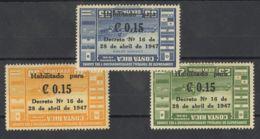 Costa-Rica, Aéreo. MH *Yv 143/45. 1947. Serie Completa. SOBRECARGA INVERTIDA. MAGNIFICA Y MUY RARA. - Costa Rica