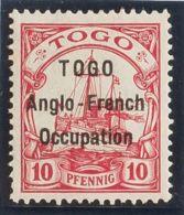 Togo. MH *Yv 34. 1914. 10 P Rojo Carmín (Interlineado 3 Mm). MAGNIFICO Y RARO. (Mi3I 190 Euros) - Togo (1960-...)