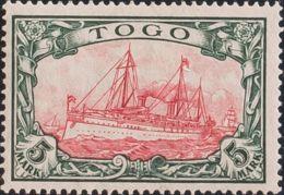 Togo. MH *Yv 22. 1909. 5 M Negro Y Carmín (Kriegsdruck 26:17). MAGNIFICO Y RARO. (Mi23IIA 220 Euros) - Togo (1960-...)