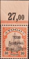 Togo. MNH **Yv 27. 1914. 30 P Rojo Y Negro Sobre Salmón, Borde De Hoja. MAGNIFICO. (Mi5 220 Euros) - Togo (1960-...)