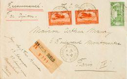 Marruecos Francés. Sobre Yv 66, Aéreo 7(2). 1924. 5 Cts Verde Y 1 Fr Naranja, Dos Sellos. Certificado De MARRAKECH A PAR - Morocco (1956-...)