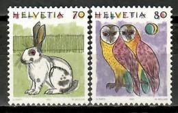 Switzerland 1991 Suiza / Birds Owls Mammals Rabbit MNH Aves Mamíferos Vögel Säugetiere / Ka04  38-22 - Pájaros