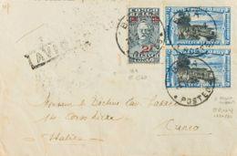 Congo Belga. Sobre Yv 165, Aéreo 3(2). 1932. 2 F Sobre 1'60 F Pizarra Y 2 F Azul Y Negro, Dos Sellos. BUTA A CUNEO (ITAL - Congo - Brazzaville