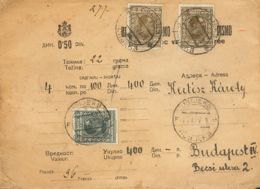 Yugoslavia. Sobre Yv 171(2), 173. 1927. 50 P Sepia, Dos Sellos Y 2 D Gris Negro. Valor Declarado De OSIJEK A BUDAPEST (H - Yugoslavia