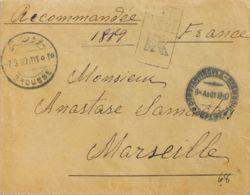 Turquía. Sobre Yv 109(2). 1907. 1 Pi Azul, Pareja. Certificado De BURSA A MARSELLA. En El Frente Fechadores BROUSE Y *CO - Turquía