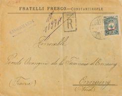 Turquía. Sobre Yv 119. 1907. 2 Pi Pizarra. Certificado De CONSTANTINOPLA A ONNAING (FRANCIA). Al Dorso Llegada. MAGNIFIC - Turquía