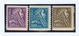 Suecia. MH *Yv 151/53. 1921. Serie Completa. MAGNIFICA. Yvert 2013: 120 Euros. - Schweden