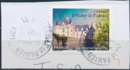 France - Châteaux Et Demeures II (Azay Le Rideau) YT A727 Obl. Cachet Rond Manuel Sur Fragment - Francia