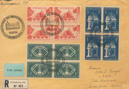 Luxemburgo. Sobre Yv 511/13(4). 1956. Serie Completa, Bloque De Cuatro. Frontal De Certificado De LUXEMBURGO A MINAS GER - Sin Clasificación