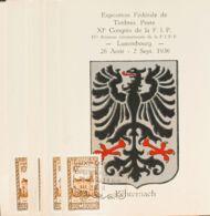 Luxemburgo. Sobre Yv 282. 1936. Juego De Nueve Tarjetas Postales De La EXPOSITION FEDERALE DE TIMBRES POSTE-XIº CONGRES - Sin Clasificación
