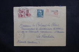 FRANCE - Enveloppe En Recommandé De Saujon Pour Commandant De La Subdivision Militaire à La Rochelle En 1945 - L 46668 - Marcophilie (Lettres)