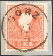 Austria. Fragmento Yv 8. 1858. 5 K Bermellón, Sobre Fragmento. Matasello GÖRZ. MAGNIFICO Y ESPECTACULAR ESTAMPACION. - Austria