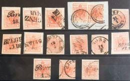Austria. ºYv 3(15). 1850. Conjunto De Trece Sellos Y Dos Sellos Sobre Fragmento Del 3 K Naranja, Alguno De Ellos Sobre F - Austria