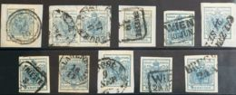 Austria. ºYv 5(20). 1850. Conjunto De Dieciocho Sellos Y Dos Sellos Sobre Fragmento Del 9 K Azul, Muchos De Ellos Sobre - Austria