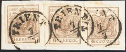 Austria. Fragmento Yv 4(3). 1850. 6 K Marrón, Tres Sellos Sobre Fragmento. MAGNIFICA. - Austria