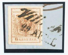 Austria. Fragmento Yv 4. 1850. 6 K Marrón, Sobre Fragmento. PIEZA DE LUJO. - Austria