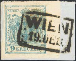 Austria. Fragmento Yv 5. 1850. 9 K Azul, Sobre Fragmento, Borde De Hoja. PIEZA DE LUJO, RARO Y EXCEPCIONAL EN ESTA CALID - Austria