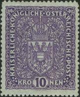 Austria. MH *Yv 161a. 1915. 10 K. Violeta Oscuro. MAGNIFICO. Yvert 2011: 160 Euros. - Austria
