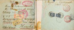 Rusia. Yv 67(2). 1914. 10 K Azul, Dos Sellos. Certificado De IRKUTSK A GINEBRA. En El Frente Marca De La Cruz Roja Rusa - Unclassified