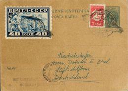 Rusia. Sobre Yv 428, Aéreo 20. 1930. 3 K Azul Sobre Tarjeta Entero Postal Graf Zeppelin De MOSCU A FRIEDRICHSHAFEN (ALEM - Unclassified