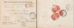 Rusia. Sobre Yv 41(59). 1906. 4 K Rosa, Cinco Sellos (al Dorso). Certificado De KARKOV A PARIS. MAGNIFICA. - Unclassified