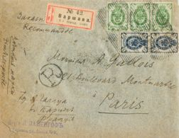 Rusia. Sobre Yv 39(3), 43(2). 1902. 2 K Verde, Tres Sellos Y 7 K Azul, Dos Sellos. Certificado De VARSOVIA A PARIS (eros - Unclassified