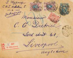 Rusia. Sobre Yv 63, 69(2). 1912. 7 K Azul Sobre Entero Postal Certificado De SAN PETERSBURGO A LIVERPOOL (INGLATERRA), C - Unclassified