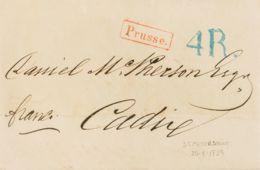 """Rusia. Sobre Yv . 1859. SAN PETERSBURGO A CADIZ. Marca PRUSSE, De Tránsito Por Francia Y Porteo Español """"4 R"""" (reales), - Unclassified"""