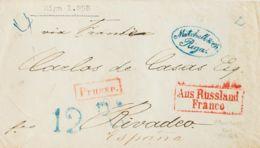 Rusia. Sobre Yv . 1858. RIGA (LETONIA) A RIBADEO, Circulada Vía Prusia Y Francia. Marcas AUS RUSSLAND / FRANCO, De Tráns - Unclassified
