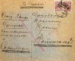 Rusia. Sobre Yv 65(2). 1916. 5 K Lila, Dos Sellos. Dirigida A COPENHAGUE (DINAMARCA). En El Frente Marca De La Cruz Roja - Unclassified