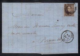 MALINES / 1863 PLI POUR BRUXELLES (ref 5351a) - 1863-1864 Medaillen (13/16)