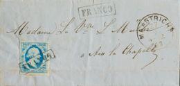 Holanda. Sobre Yv 1. 1863. 5 Cts Azul Claro. MAASTRICHT A AIX LA CHAPELLE (AACHEN). Matasello FRANCO, Repetido En El Fre - Holanda
