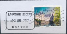 France - Châteaux Et Demeures II (Azay Le Rideau) YT A727 Obl. Cachet Manuel Et Ondulations Toshiba Sur Fragment - Francia