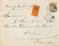 Holanda. Sobre Yv 58. 1907. 22 ½ Cts Castaño Y Oliva. Certificado De AMSTERDAM A ORLEANS (FRANCIA). Al Dorso Llegada. MA - Holanda