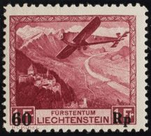 Liechtenstein, Aéreo. MNH **Yv 14. 1935. 60 R Sobre 1 R Carmín. MAGNIFICO. Yvert 2015: 160 Euros. - Liechtenstein