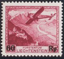 Liechtenstein, Aéreo. MNH **Yv 14. 1935. 60 R Sobre 1 F Carmín. MAGNIFICO. Yvert 2015: 160 Euros. - Liechtenstein