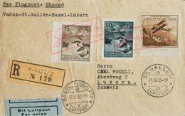 Liechtenstein, Aéreo. Sobre Yv 1/3. 1930. 15 Rp Castaño, 20 Rp Verde Negro Y 25 Rp Castaño. Correo Aéreo Certificado De - Liechtenstein