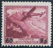 Liechtenstein, Aéreo. MNH **Yv 14. 1935. 60 Rp Sobre 1 Fr Carmín. MAGNIFICO. Yvert 2012: 150 Euros. - Liechtenstein