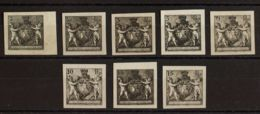 Liechtenstein. (*)44/51B. 1921. Serie Completa. ENSAYOS DE PLANCHA, En Negro. SIN DENTAR. MAGNIFICOS. (Michel 45/52A) - Liechtenstein