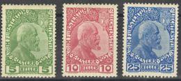 Liechtenstein. MH *Yv 1/3. 1912. Serie Completa. MAGNIFICA. Yvert 2012: 240 Euros. - Liechtenstein